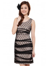 Polka Dots Mesh Draped Dress