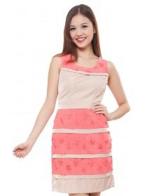 Cherry Blossoms Applique Dress