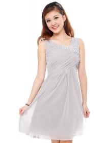 Grey Bejeweled Embellished Dress