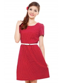 Scarlet Polka Dots Sleeved Dress
