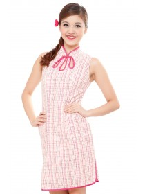 Lace & Checkered Cheongsam Dress