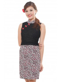 Elegant Leopard Prints Cheongsam Dress