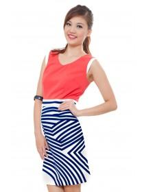 Marc Coral Color Block Graphic Dress
