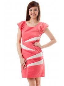 Pink Puff Sleeved Panelled Dress
