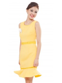 Allure Yellow Frill Bottom Dress