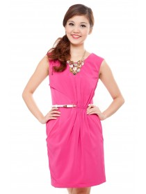 Draped Overlay Stretch Belted Dress
