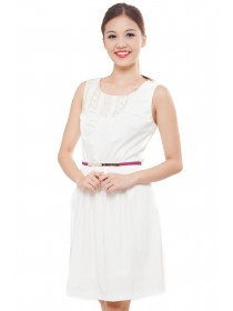 Intricate Embroidered Top White A-Line Dress
