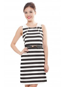 Monochrome Striped Collared Shift Dress