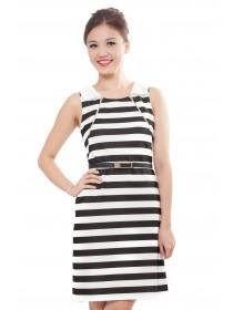 Monochrome Striped Collared Shift Dress