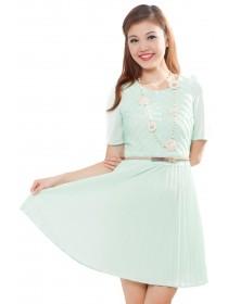 Luscious Pleated Panel Sleeved Dress