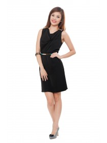 Elegant Cowl Neck Little Black Dress