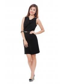 Elegant Cowl Neck Little Black Dress