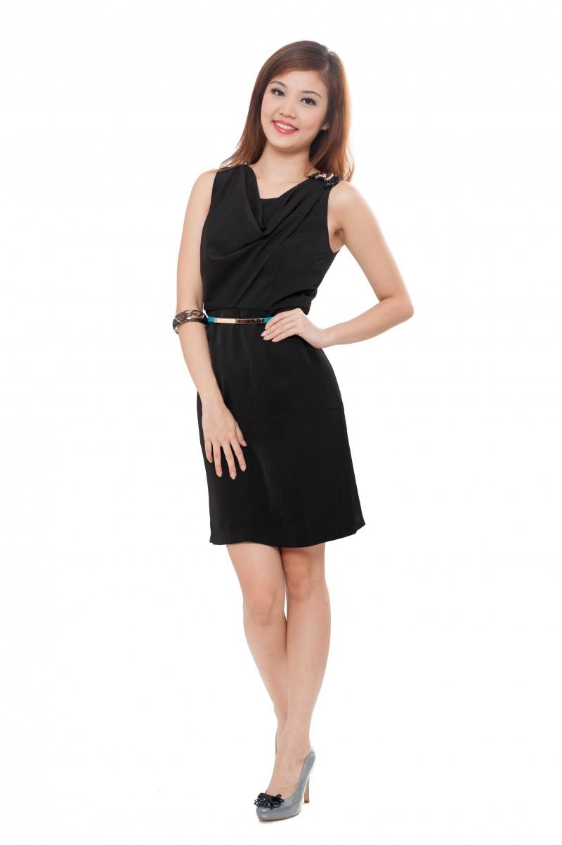 Elegant Cowl Neck Little Black Dress - Divalavie | Dresses, Office ...