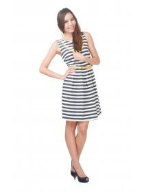Nautical Denim A Line Flare Dress