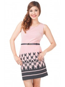 Butterflies Prints Belted Pink Dress