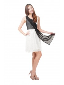 Dots Prints Chiffon Wrap-Effect Dress