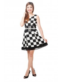 Checkered Prints Lace Trims Dress