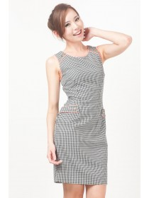 Houndstooth Prints Contrast Trimmings Dress