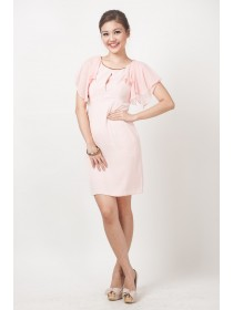 Cape Style Sleeves Pink Dress