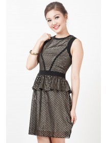 Couture Graphic Prints Peplum Dress