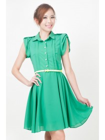 Emerald Buttoned Sleeved Dress