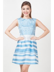 Contemporary Printed Taffeta Blue Dress