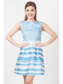 Contemporary Printed Taffeta Blue Dress