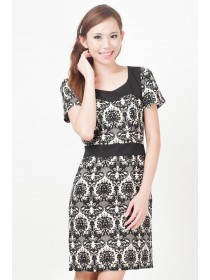 Printed Floral Motifs Sleeved Dress
