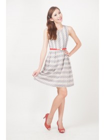 Textured Red Dots Blue Belted Dress