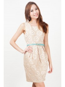 Matilda Floral Eyelet A-Line Dress (Cream)