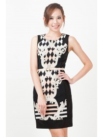Floral Motifs Printed Sheath Dress