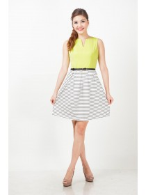 Alyssa Yellow Striped Bottom Dress