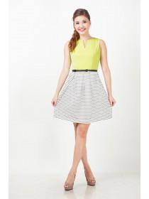 Alyssa Yellow Striped Bottom Dress