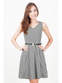 Striped Cotton Flare Dress