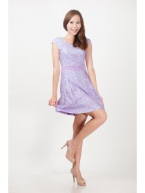 Lilac Lace Prints Dress