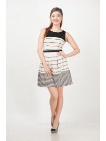 Dots and Stripes Flare A Line Dress