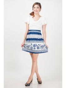 Floral Lace Mesh A-Line Dress