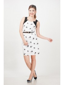 Monochrome Sparrows Printed Belted Dress