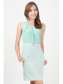 Mint Tweed Belted Dress