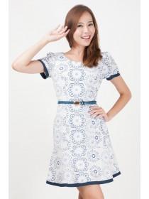 Colette Floral Prints Sleeved Dress
