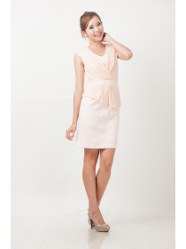 Pink Textured Lace Prints Pleated Dress
