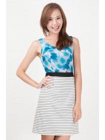 Floral Prints Striped Bottom Dress
