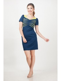 Ribbed Stretch Color Block Dress