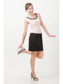 Embellished Scallop Peplum Dress