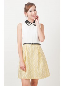 Sparkling Daisy Embellished Collar Dress