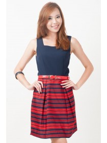 Marchesa Nautical Striped Bottom Dress