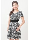 Floral Lace Prints Sleeved Dress