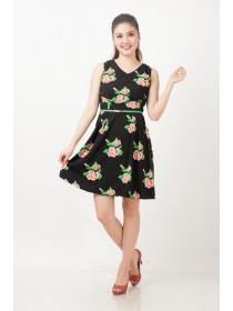 Ivy Floral Crepe A Line Dress