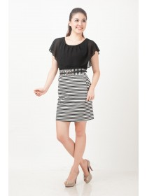 Cape Sleeves Striped Bottom Dress