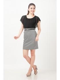 Cape Sleeves Striped Bottom Dress